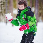 Boy about to throw a snowball