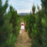 Teen girl in a row of christmas trees