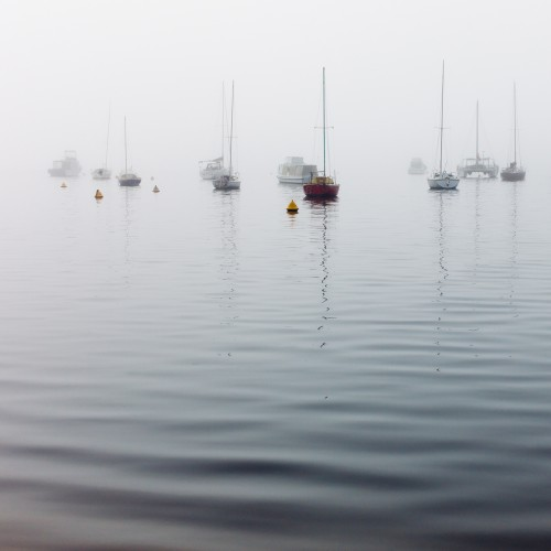 Yachts moored on a river in dense fog